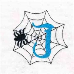 Spiderweb Letter J embroidery design