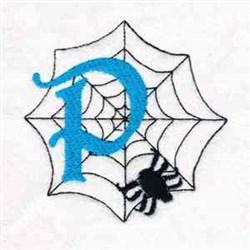 Spiderweb Letter P embroidery design