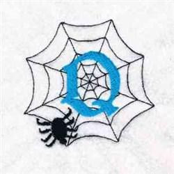 Spiderweb Letter Q embroidery design