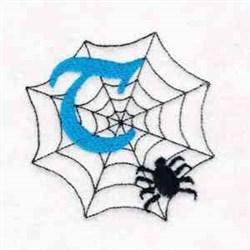 Spiderweb Letter T embroidery design
