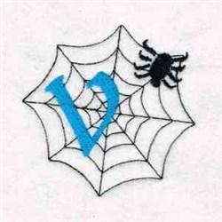 Spiderweb Letter V embroidery design