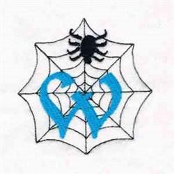 Spiderweb Letter W embroidery design
