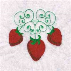 Swirl Strawberries embroidery design
