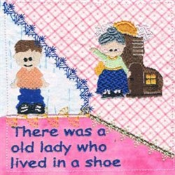 Lady In Shoe Quilt embroidery design