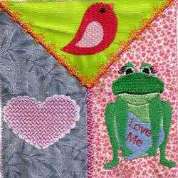 Valentine Frog Square embroidery design