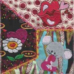 Valentine Mouse Block embroidery design