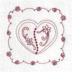 Heart Quilt Block embroidery design
