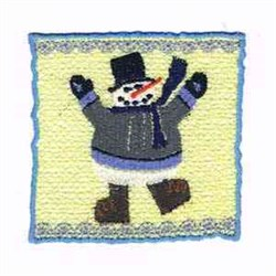 Winter Candle Snowman embroidery design
