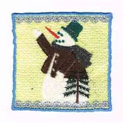 Candle Snow Man Wrap embroidery design