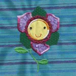 Applique Smile Flower embroidery design