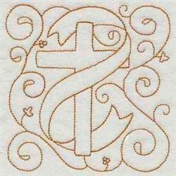 Easter Cross Redwork embroidery design