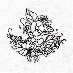 Black Work Floral embroidery design