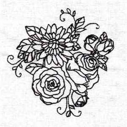 Black Work Flowers embroidery design