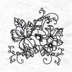 Black Work Orchid embroidery design