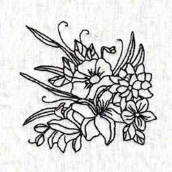 Black Work Blossom embroidery design