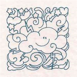 Lightening Cloud Block embroidery design
