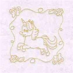 Unicorn Quilt Block embroidery design