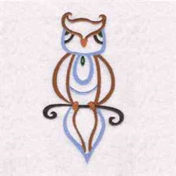 Native Wise Owl embroidery design
