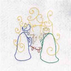 Nativity Magi embroidery design