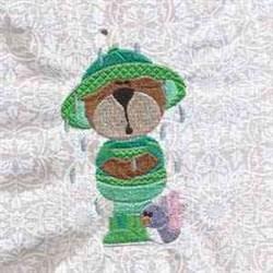 Rain Day Bear embroidery design