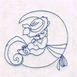 Squirrel On Moon embroidery design
