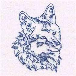 Redwork Wolf Head embroidery design