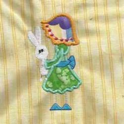 Girl & Bunny embroidery design