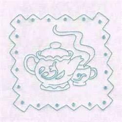 Redwork Tea Pot embroidery design