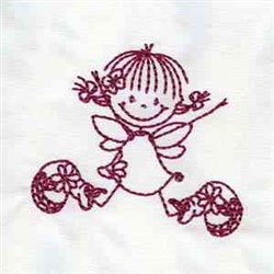 Fairy Redwork embroidery design