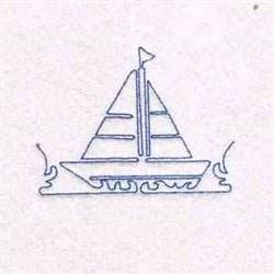 Redwork Sailboat embroidery design