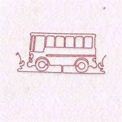 Redwork Bus embroidery design