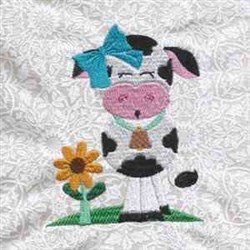 Floral Cow embroidery design