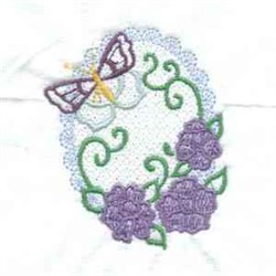 Oval Floral Butterfly embroidery design
