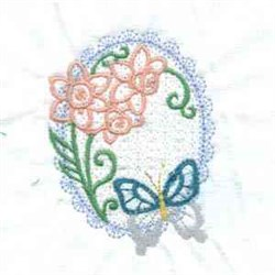 Butterfly Flower Oval embroidery design