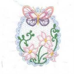 Butterfly Oval Spring embroidery design