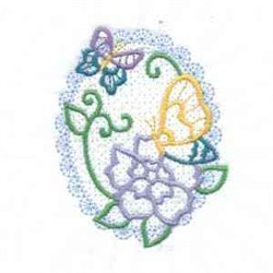 Oval Flower Butterfly embroidery design