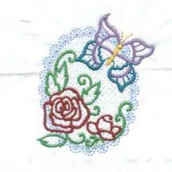 Spring Oval Butterfly embroidery design
