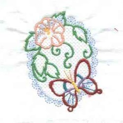 Butterfly Flower Spring Oval embroidery design