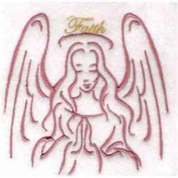 Faith Angel Redwork embroidery design