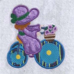 Applique Tricycle Girl embroidery design