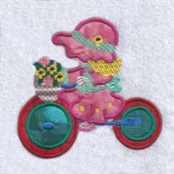 Tricycle Girl Applique embroidery design