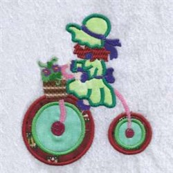 Applique Trike Girl embroidery design