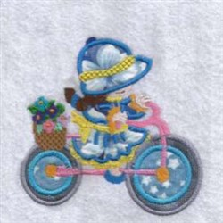Applique Bicycle Girl embroidery design