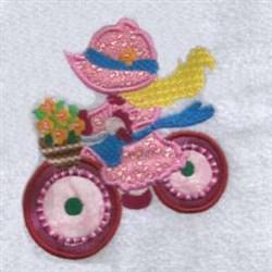 Applique Bike Girl embroidery design