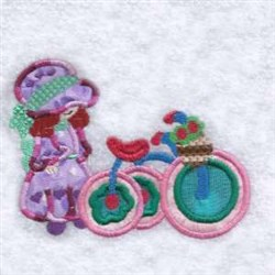 Applique Girl Tricycle embroidery design