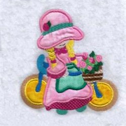 Bicycle Applique Girl embroidery design