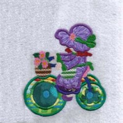 Tricycle Applique Girl embroidery design