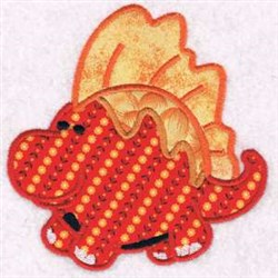 Chubby Dinosaur Applique embroidery design