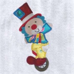 Unicycle Clown Applique embroidery design