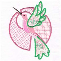 Hummingbird Applique Charm embroidery design